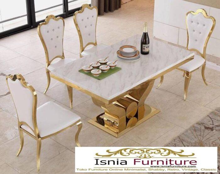 meja-makan-marmer-terbaru-termewah-desain-kaki-stainless-gold-700x556 Jual Meja Makan Marmer Kaki Stainless Gold Harga Murah Terlaris