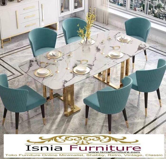 meja-makan-marmer-termewah-desain-kaki-stainless-gold-700x670 Jual Meja Makan Marmer Kaki Stainless Gold Harga Murah Terlaris