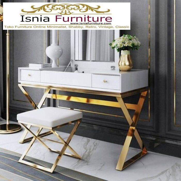 meja-rias-marmer-desain-kaki-stainless-gold-700x700 Jual Meja Rias Marmer Modern Harga Terjangkau Terpopuler