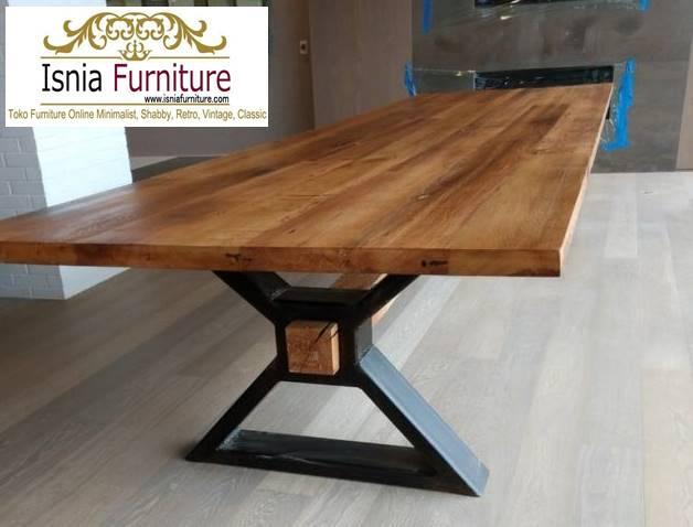meja-kayu-lebar-desain-kaki-besi-unik Jual Meja Kayu Lebar Harga Terjangkau Modern Terlaris