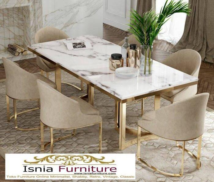 meja-makan-marmer-Bandung-6-kursi-desain-kaki-stainless-unik-700x598 Jual Meja Makan Marmer Bandung Terbaru Harga Murah