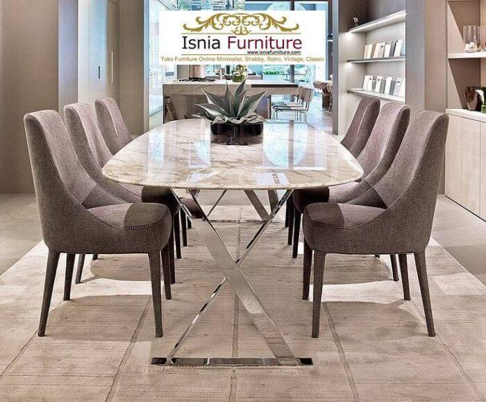 meja-makan-marmer-Bandung-bentuk-oval-kaki-stainless-700x579 Jual Meja Makan Marmer Bandung Terbaru Harga Murah