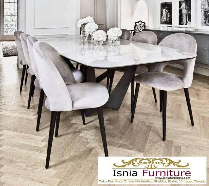 meja-makan-marmer-Bandung-desain-kaki-besi-700x625 Jual Meja Makan Marmer Bandung Terbaru Harga Murah