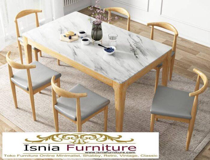meja-makan-marmer-Bandung-desain-kaki-kayu-minimalis-unik-700x535 Jual Meja Makan Marmer Bandung Terbaru Harga Murah