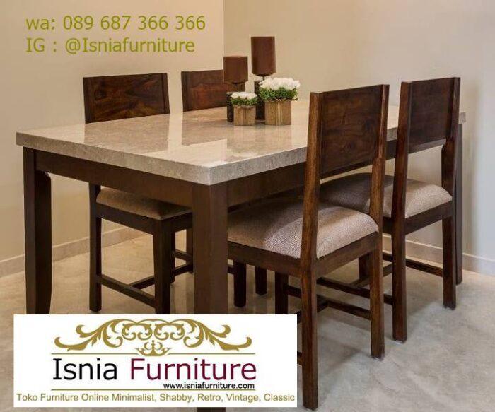 meja-makan-marmer-Bandung-desain-kaki-kayu-solid-700x583 Jual Meja Makan Marmer Bandung Terbaru Harga Murah