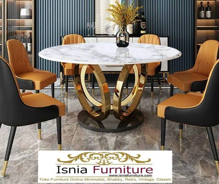 meja-makan-marmer-bulat-kaki-stainless-gold-terbaik-700x587 Jual Meja Makan Marmer Bulat Kaki Stainless Modern