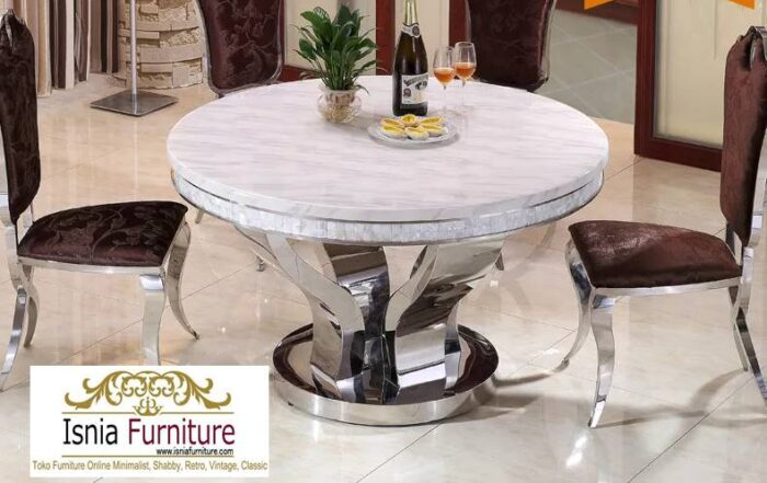 meja-makan-marmer-bulat-kaki-stainless-harga-murah-700x441 Jual Meja Makan Marmer Bulat Kaki Stainless Modern
