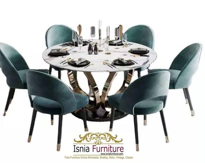 meja-makan-marmer-bulat-kaki-stainless-harga-murah-terlaris-700x559 Jual Meja Makan Marmer Bulat Kaki Stainless Modern