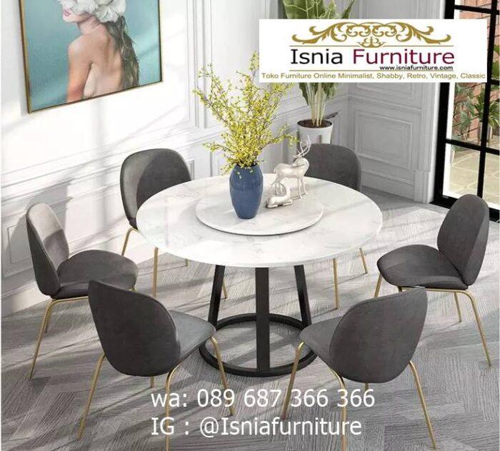meja-makan-marmer-bulat-kaki-stainless-kualitas-terbaik-700x632 Jual Meja Makan Marmer Bulat Kaki Stainless Modern
