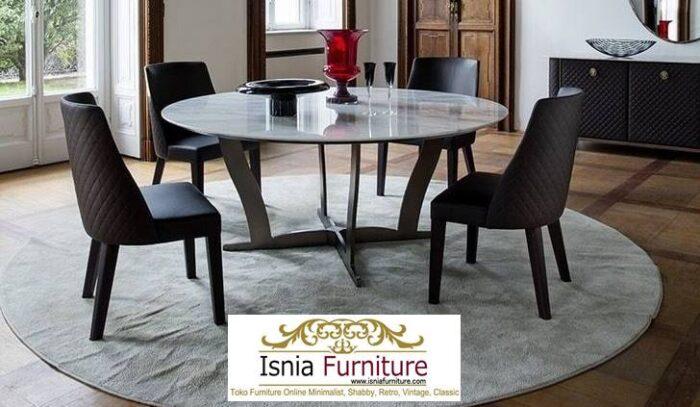 meja-makan-marmer-bulat-kaki-stainless-minimalis-700x407 Jual Meja Makan Marmer Bulat Kaki Stainless Modern