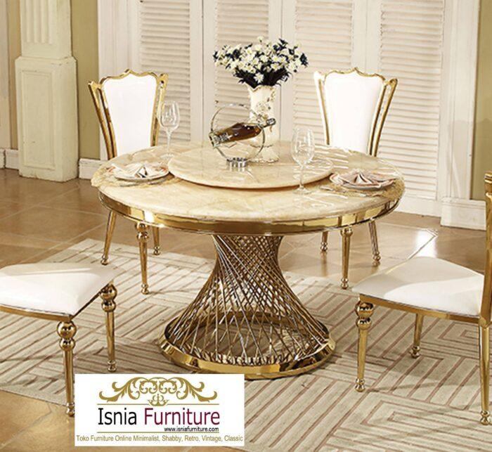 meja-makan-marmer-bulat-kaki-stainless-termewah-700x643 Jual Meja Makan Marmer Bulat Kaki Stainless Modern