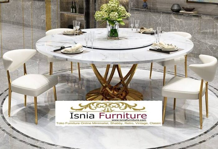 meja-makan-marmer-putar-bulat-kaki-stainless-emas-700x479 Jual Meja Makan Marmer Bulat Kaki Stainless Modern