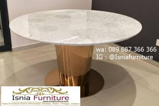 meja-makan-marmer-putih-bulat-kaki-stainless Jual Meja Makan Marmer Bulat Kaki Stainless Modern