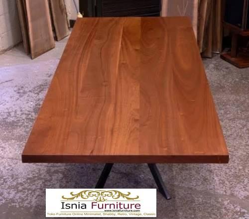meja-kayu-mahoni-utuh-tebal-desain-kaki-besi Jual Meja Kayu Mahoni Utuh Tebal Solid Termurah