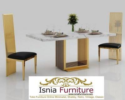 meja-makan-marmer-kaki-stainless-gold-bentuk-unik-minimalis-mewah Jual Meja Makan Marmer Termahal Model Terbaru