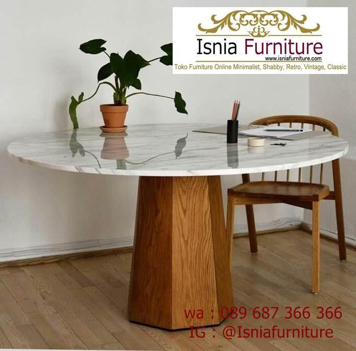 meja-marmer-kaki-kayu-bentuk-bulat-minimalis Jual Meja Marmer Kaki Kayu Minimalis Modern Berkualitas