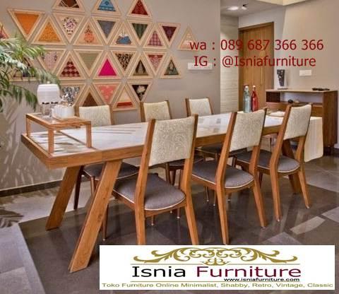 meja-marmer-kaki-kayu-bentuk-panjang-mewah Jual Meja Marmer Kaki Kayu Minimalis Modern Berkualitas