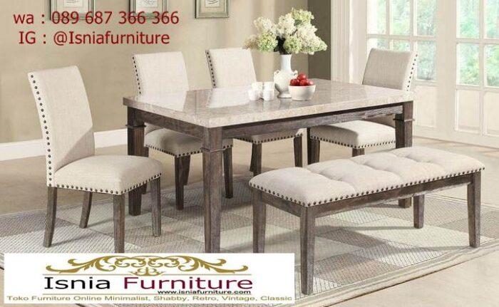 meja-marmer-kaki-kayu-desain-4-kursi-1-bangku-700x431 Jual Meja Marmer Kaki Kayu Minimalis Modern Berkualitas