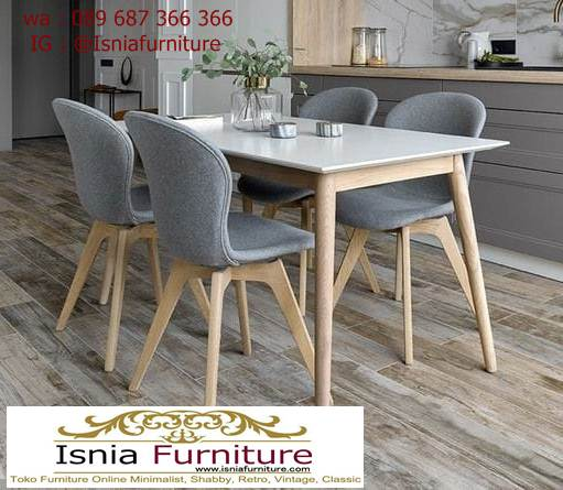 meja-marmer-kaki-kayu-desain-4-kursi Jual Meja Marmer Kaki Kayu Minimalis Modern Berkualitas