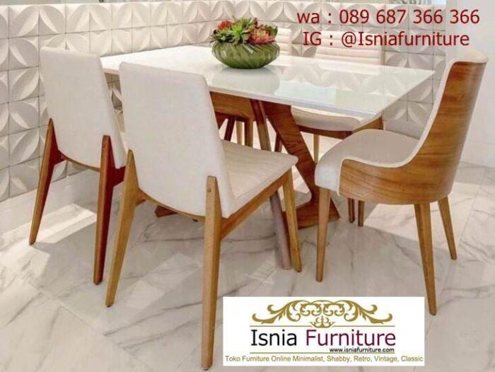 meja-marmer-kaki-kayu-desain-6-kursi-minimalis-700x526 Jual Meja Marmer Kaki Kayu Minimalis Modern Berkualitas
