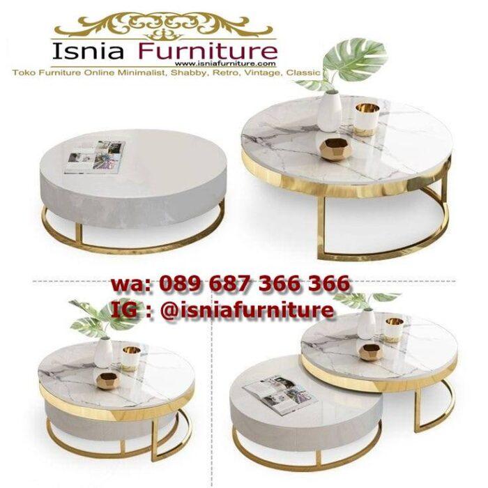 meja-sofa-marmer-bentuk-bulat-desain-kaki-stainless-mewah-700x700 Jual Meja Sofa Marmer Unik Minimalis Modern