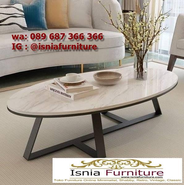 meja-sofa-marmer-bentuk-oval-minimalis Jual Meja Sofa Marmer Unik Minimalis Modern