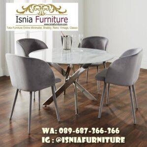 Meja Marmer Bulat Besar Minimalis Untuk Meja Makan