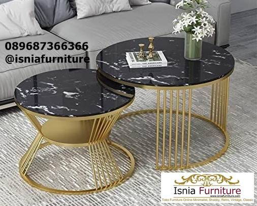 meja-marmer-kecil-desain-bulat-kaki-stainless Meja Marmer Bulat Kecil Modern Murah