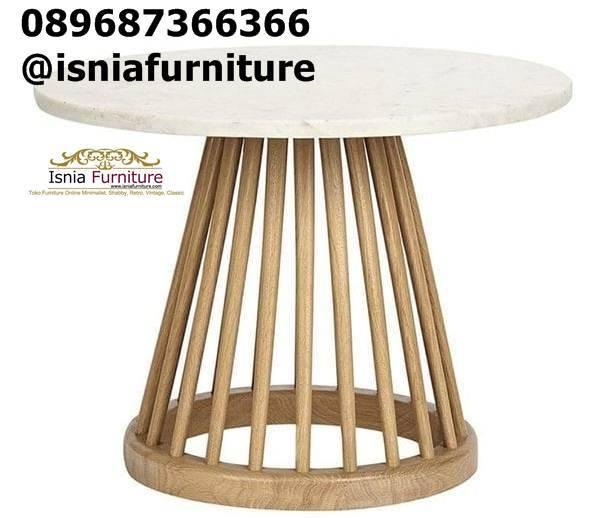 meja-marmer-kecil-model-bulat-kaki-kayu-jati Meja Marmer Bulat Kecil Modern Murah